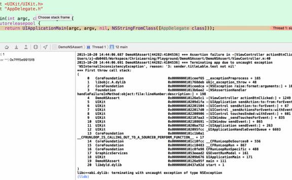 iOS使用NSAssert来调试程序